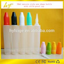 the 2015 newest design beautiful profile(unicorn and pen shape) 30ml plastic bottle