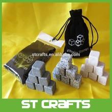 9 Pcs Whisky Soap stone w velvet bag for cold drink Ice Cube Rocks whiskey gift