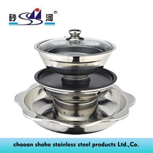 2015 New Products! Stainless Steel Pot Divided into Tri-Tier Steamboat with Shabu Steam & Grill in One Set