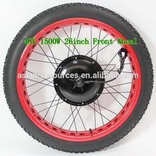 Red Rim / 48V 1500W Brushless Gearless Motor 26inch Electric Beach Bike Hub Motor Wheel For Fat Tire Bike