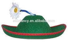 Good sale tranditional green felt hat with flower Oktoberfest hat for party QHAT-1196