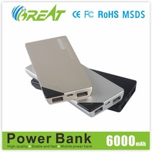 2015 factory hot selling fashinal 6000mah portable battery charger for travel tourism, business and promotional gift