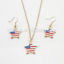 enamel usa flag necklace and earring sets, star shape usa flag jewelry sets