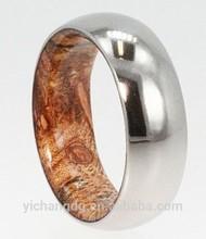 2015 Fashion Mens Titanium Wood Inlay Ring with Yellow Wood
