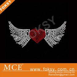 Fly Red heart wings rhinestone transfer design