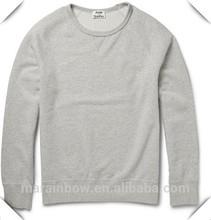 Mens Gray Plain Raglan Sleeve Crew Neck Sweatshirts Custom Made 100% Cotton French Terry Hoodies
