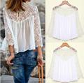 2015 instyles de primavera verano de blusas de moda casual camisas de encaje gasa blusa de encaje blanco zt003845 mejor