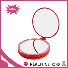 Plastic frame good price electric makeup mirror with magnifier as birthday gifts for girl child