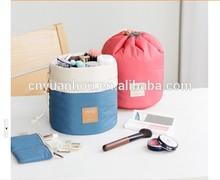 Cylinder Shaped Nylon Travel Cosmetic Bag Wash Bag Organizer