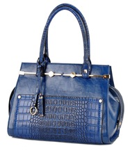 Faux Crocodile Patent PU Leather Satchel Blue Elegance Handbag Office Tote Bag Wholesale