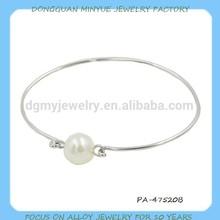 2015 new design silver colorsingle pearl bangles jewelry