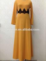 cotton and polyester fabric orange solid plain long dress abaya