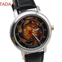 winner brand custom your logo transparent skeleton design men genuine leather band hand automatic watch man