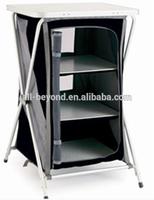 Portable outdoor 3-shelf X frame camping cupboard