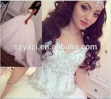 DL-191 Crystal Bodice Ball Gown Wedding Dress 2015 Tulle Vestido De Novia