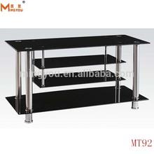 Black Glass Three Shelves Plasma LCD TV Stand 32'-42'