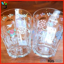 Beautiful 2 pack clear full flower patterned glass coupe cup set