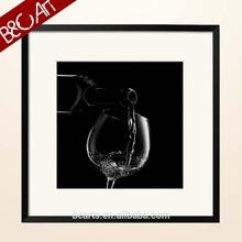 Simple art decor black background wine glass oil painting