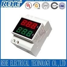 DIN-RAIL Slide Way Digital LED AC Voltmeter Ammeter AC80-300V AC220V AC0.01-99.9A Voltage Current Meter Dual Display Panel meter