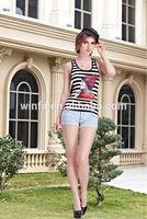 Ladies slim fit 100% cotton tank top manufacturer/cheapest price wholesale /Women clothing