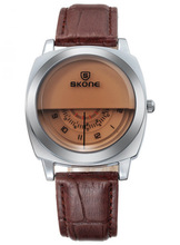 NO 9244 Brown Leather Strap Fashion Stylish couple lover wrist watch