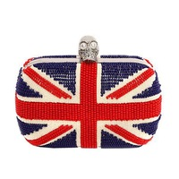 Oversized bling crystal skull bags, box bags with beads, lady UK flag bags EV1098