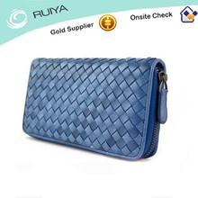 Factory price Handmade woven sheepskin leather zipper long wallet purse-3240