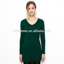 fashion style long sleeve printing custom t shirt plain dyed womens t shirt blank t-shirt