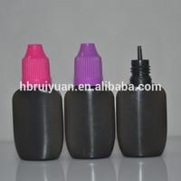 15ml 10ml black flat plastic dropper bottle and childproof cap
