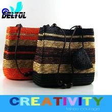 2015 latest design fabulous fashion beach bag women's tote bag/ straw hand bag/handmade bag