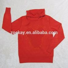 Poncho Neck Pullover Sweater with Hot Fix Rhinestone Rib Cuff and Rib Hem
