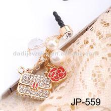 lady bags Ear phone Cap Dustproof Jack pin 3.5 Headphone plug phone Jewelry