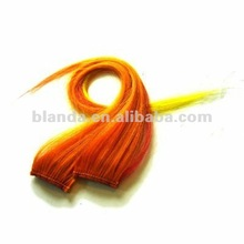 Single clip in orange human hair extension 1