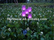 5 LED garden decor pink light white plastic purple tulip flower solar Stake flower lights(SO3285)
