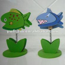 school supplier wood cartoon fish memo note holder standing clip