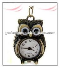 Fashion Vntage Antique Brass Owl Pcket Watch Pendant Necklaces HN1302