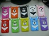 Adorable 3D bear design silicone rubber phone case for Samsung Galaxy S2 i9100