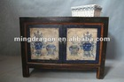 chinese antique rustic reclaimed wood hand painted Mongolia cabinet