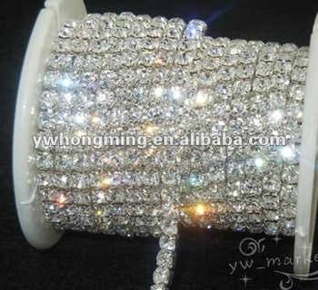 Twinkling white crystal cup chain silver claw,2012 most popular rhinestone metal chain SS18 wholesale!!
