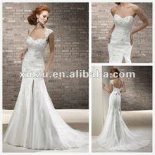 Hot Sexy Elegant Sweetheart Neckline Cut Slit Mermaid Wedding Dress 2012 with Removable Straps