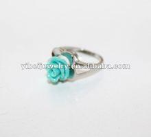 blue coral fashion flower shape wedding ring