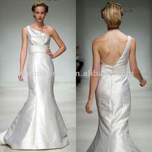 NY-1863 Silk wool one-shoulder trumpet wedding dress