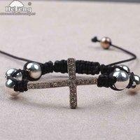 Handmade String Cord Bracelet with Diamond Cross