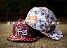 2012 fashion floral flat brim strap back sanpback five panel hats