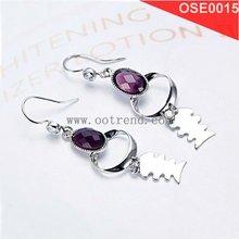 New style women earrings inlay purple AA level zircon with shiny polished