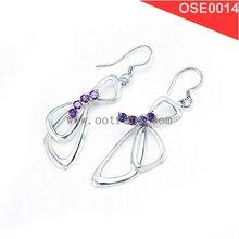 Purple zircon inlay drop style sterling earrings for 2015