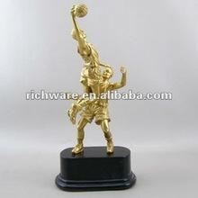 golden basketball polyresin sport figurine decoration