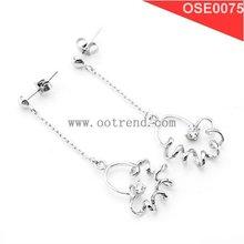 silver earrings,Nice Flower Design 925 Silver Earring inlay Zircon