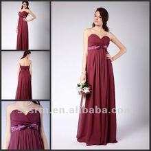 Hot Sale ! Elegant Plus Size Strapless Ruffle Rose Long Chiffon Bridesmaid Dresses 2012 With Bow Belt