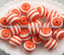 Sales promotion!Discount price!!Orange & White epoxy resin beads,loose stripe resin beads solid color 20mm!